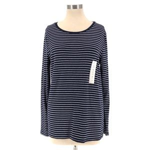 A New Day Navy Striped Pima Cotton Long Sleeve Top